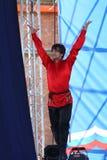 合奏imamat (太阳达吉斯坦)的独奏者舞蹈家表现与北部高加索的传统舞蹈 库存照片