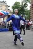 合奏Imamat (太阳达吉斯坦)的独奏者舞蹈家表现与北高加索的传统舞蹈的 免版税图库摄影