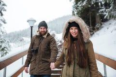 结合握手和走在冬天山的台阶 库存图片