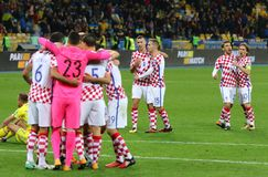 合格的世界杯足球赛2018年:乌克兰v克罗地亚 图库摄影