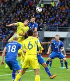 合格的世界杯2018年:冰岛v乌克兰在雷克雅未克 免版税库存照片