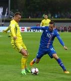 合格的世界杯2018年:冰岛v乌克兰在雷克雅未克 免版税库存图片