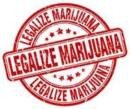 合法化大麻红色难看的东西圆的邮票 向量例证