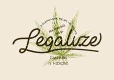 合法化大麻,杂草大麻绿色叶子减速火箭的商标,海报, 皇族释放例证