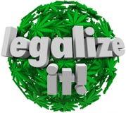 合法化医疗大麻叶子球形批准表决的它 库存例证