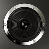 合理的报告人立体音响系统具有高保真度 库存照片