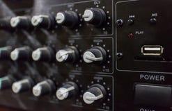 合理的控制台,搅拌器,与USB便携式的专业声音 免版税库存照片