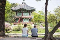 结合韩国宫殿,景福宫亭子,汉城,韩国前面  图库摄影