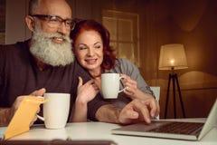 结合饮用的茶和在家使用膝上型计算机一起 库存照片