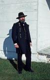 刻画综合财政补贴的南北战争reenactor 库存照片