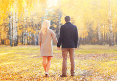结合年轻的夫妇递走在温暖的晴朗的秋天天视图  免版税库存图片