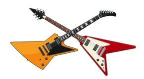 吉他争斗概念 横渡的两把电吉他 图库摄影