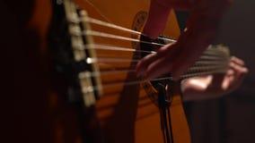吉他人` s手指接触串 关闭 股票视频