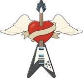 吉他例证样式纹身花刺 免版税图库摄影