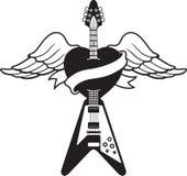 吉他例证样式纹身花刺 免版税库存图片