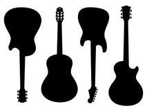 吉他剪影 免版税库存照片
