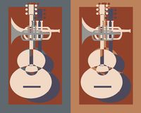 吉他加上喇叭 库存照片