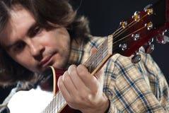 吉他吉他弹奏者作用 库存照片