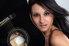 吉他女孩 库存照片