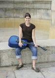 吉他妇女 免版税图库摄影