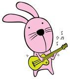吉他弹奏者兔子 库存图片