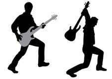 吉他弹奏者剪影向量 免版税库存图片