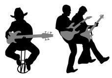 吉他弹奏者剪影向量 免版税图库摄影