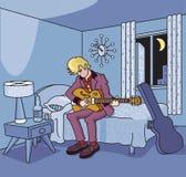 吉他弹奏者在减速火箭的旅馆客房 免版税库存照片