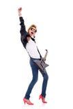 吉他弹奏者妇女 免版税库存照片