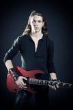 吉他弹奏者重金属 库存照片