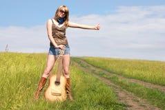 吉他旅行者 图库摄影