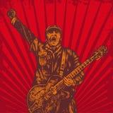 吉他演奏员减速火箭的样式 免版税库存照片