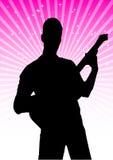 吉他演奏员剪影向量 免版税库存图片
