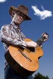 吉他演奏员青年时期 库存图片