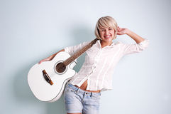 吉他白色 免版税库存照片