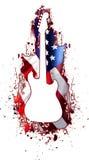 吉他空白岩石的剪影美国 库存图片