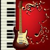 吉他钢琴 免版税库存照片