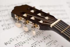 吉他音乐附注 免版税库存照片