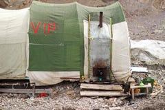 吉尔吉斯斯坦-汗腾格里峰(7,010 m)营地 免版税库存图片