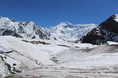 吉尔吉斯斯坦- Pobeda峰顶(托木尔峰) 7,439 m 免版税库存照片