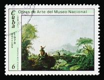 吉恩巴帝斯特Pillement,与图`,从国家博物馆serie的绘画的`风景,大约1978年 免版税库存照片