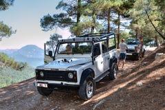 吉普往金牛座山,土耳其的徒步旅行队游览 库存照片