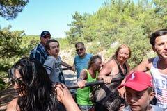 吉普徒步旅行队的探险家在土耳其 图库摄影