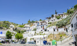 吉普赛洞Sacromonte邻里在格拉纳达,安达卢西亚,西班牙 免版税库存照片