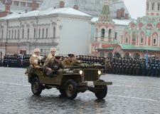 吉普jeepin红场在莫斯科 免版税库存照片