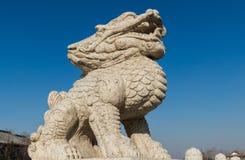 吉林wanshou寺庙石头狮子 库存图片