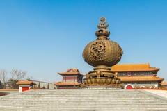 吉林wanshou寺庙香炉 库存图片