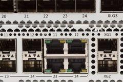吉比特有SFP槽孔的以太网开关 免版税库存图片