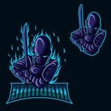 吉祥人商标和赌博的武士机器人 向量例证