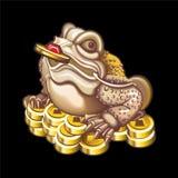 吉祥人的汇集:与硬币的青蛙 库存图片